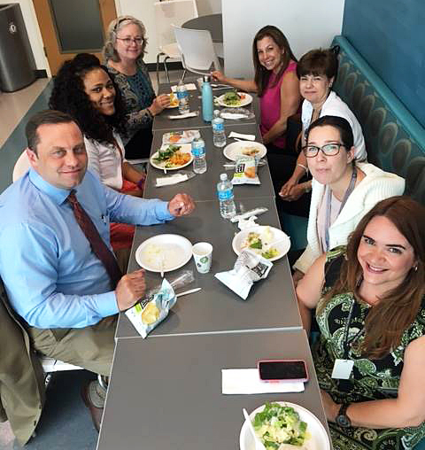 FFCR volunteers Tom Oglesby, Ja'Neen Anderson, Pamela Chamberlin, Jennifer Gross, Antonia Mysorewala with FFCR staff members Annaleah Krenn and Yani Sanchez during a Volunteer Appreciation Luncheon